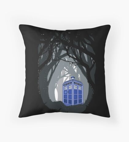 Space And Time traveller Box lost in the woods Throw Pillow