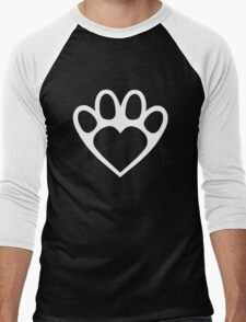 Paw Prints On My Heart in White Men's Baseball ¾ T-Shirt