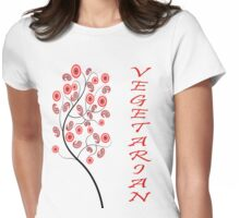 Floral Vegetarian Womens Fitted T-Shirt