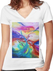 """""""Eruption"""" original abstract artwork by Laura Tozer Women's Fitted V-Neck T-Shirt"""