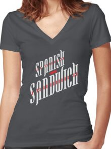 Spanish Sandwich Women's Fitted V-Neck T-Shirt