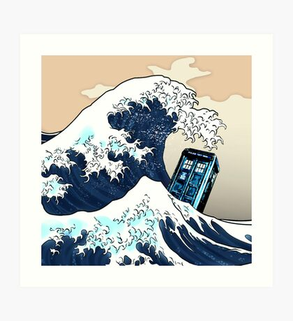 Space And Time traveller Box Vs The great wave Art Print