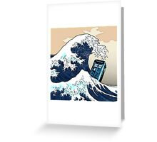 Space And Time traveller Box Vs The great wave Greeting Card