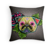 Day of the Dead Pug in Fawn Sugar Skull Dog Throw Pillow