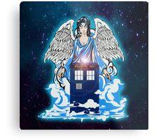 The angel has a phone box Metal Print