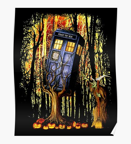 Haunted Blue Phone Box captured By witch Poster