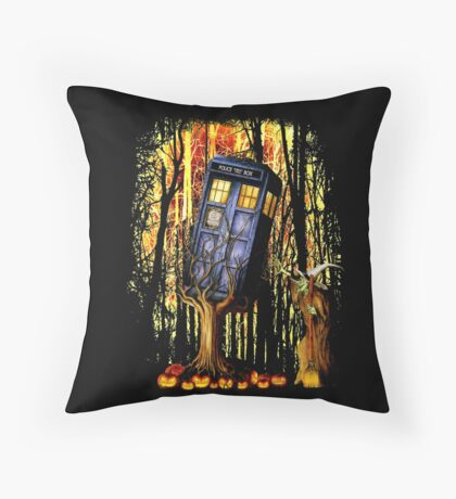 Haunted Blue Phone Box captured By witch Throw Pillow
