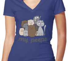 My Peeps Cat Doodle Women's Fitted V-Neck T-Shirt