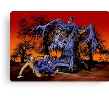 Weird Cursed British blue Phone box Monster Canvas Print