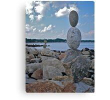 Rock Sculptures Facing Narragansett Beach  Canvas Print