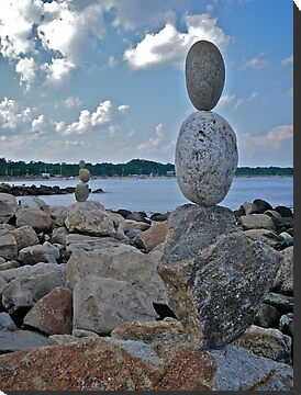 Rock Sculptures Facing Narragansett Beach  by Jack McCabe