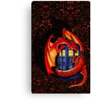 Blue phone box with Smaug The Red wyvern dragon Canvas Print