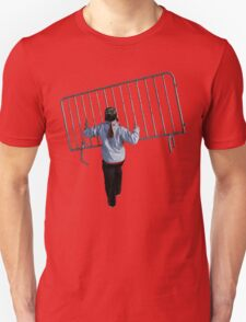 The corruption of democracy, barricade thrower. Unisex T-Shirt