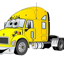 Semi Truck Yellow Cartoon by Graphxpro