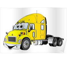 Semi Truck Yellow Cartoon Poster