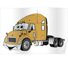 Semi Truck Gold Cartoon Poster