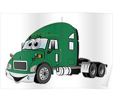 Semi Truck Green Cartoon Poster