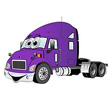Semi Truck Purple Cartoon Photographic Print