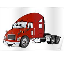 Semi Truck Red Cartoon Poster