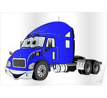 Semi Truck Blue Cartoon Poster