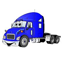 Semi Truck Blue Cartoon Photographic Print