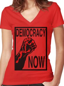 Democracy Now Women's Fitted V-Neck T-Shirt