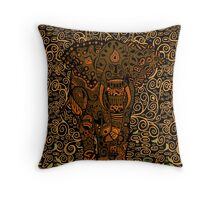 Aztec Elephant with floral Pattern Throw Pillow