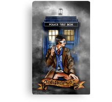 Mysterious Time traveller with blue Phone box Metal Print
