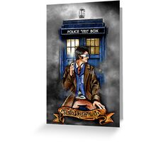 Mysterious Time traveller with blue Phone box Greeting Card