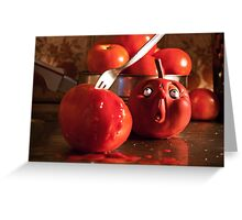 TOMATO FUNNY FOOD CRIME MURDER  Greeting Card