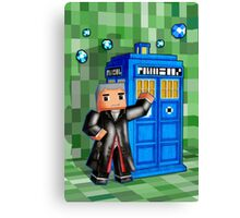 8bit 12th Doctor with blue phone box Canvas Print