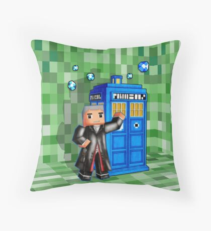 8bit 12th Doctor with blue phone box Throw Pillow