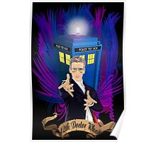 Time and Space Traveller with Rainbow Ray Ban Glasses Poster