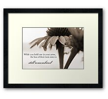 Loss of a Twin Daughter Framed Print