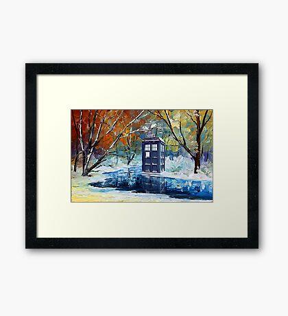 Snowy Blue phone box at winter zone Framed Print
