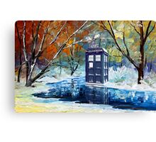 Snowy Blue phone box at winter zone Canvas Print