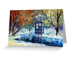 Snowy Blue phone box at winter zone Greeting Card
