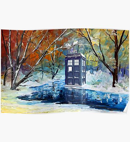Snowy Blue phone box at winter zone Poster