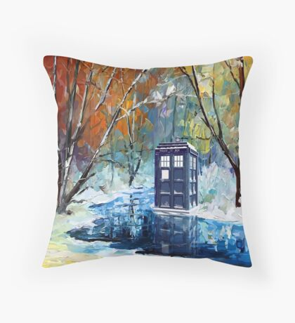 Snowy Blue phone box at winter zone Throw Pillow