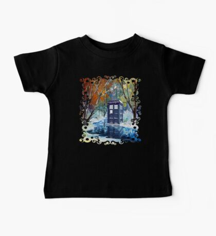 Snowy Blue phone box at winter zone Baby Tee