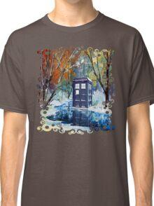 Snowy Blue phone box at winter zone Classic T-Shirt