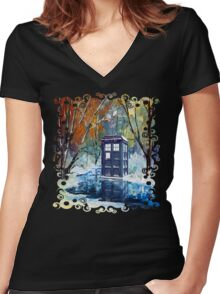 Snowy Blue phone box at winter zone Women's Fitted V-Neck T-Shirt