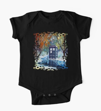 Snowy Blue phone box at winter zone One Piece - Short Sleeve