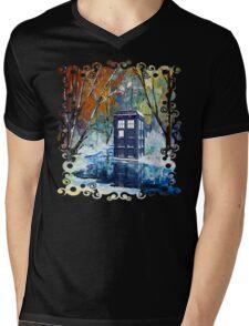 Snowy Blue phone box at winter zone Mens V-Neck T-Shirt