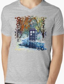 Snowy Blue phone box at winter zone Mens V-Neck T-Shirt