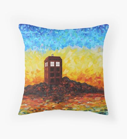 Time travel Phone booth in the Twilight zone art painting Throw Pillow