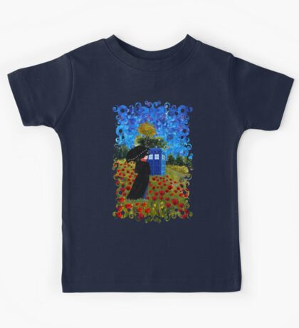 Umbrella girl with space and time traveller box art painting Kids Tee