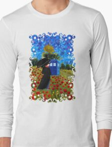 Umbrella girl with space and time traveller box art painting Long Sleeve T-Shirt