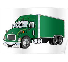 Container Truck Green Cartoon Poster
