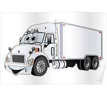 Container Truck White Cartoon Poster